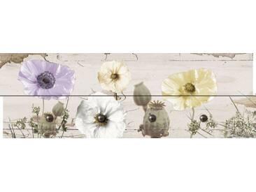 Artland Wandgarderobe »Jule: Mohnblumen auf hölzernem Untergrund«, 30 x 90 x 2,8 cm, Naturfarben