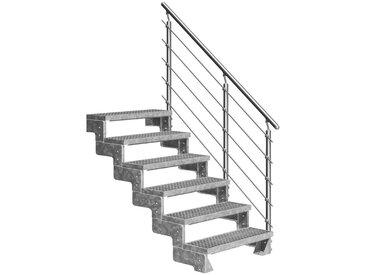 Dolle DOLLE Außentreppe »Gardentop«, für Geschosshöhen bis 132 cm, Gitterroststufen 100 cm, silberfarben, gerade, silberfarben