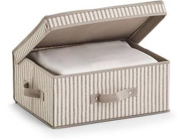 Zeller Present Zeller Aufbewahrungsbox m. Deckel »Stripes«, Vlies, beige, natur, Maße(B/T/H):(38/29/16,5)(B/T/H):(38/29/16,5), natur