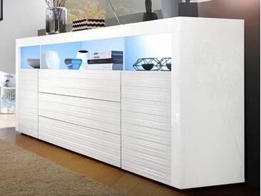 borchardt Möbel Borchardt Möbel Sideboard, Breite 200 cm, weiß, mit Aufbauservice, weiß Hochglanz/weiß Hochglanz Riffel-Optik