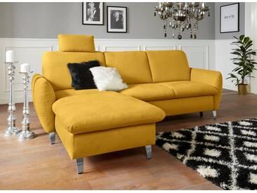 sit&more Ecksofa, mit Federkern, gelb, 245 cm, Recamiere links, senf