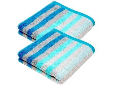 Lashuma Handtuch Set »Pure« (Set, 2-tlg), Edle Handtücher 50x100 cm, Gestreiftes Frotteetuch 2er Set, blau, türkis