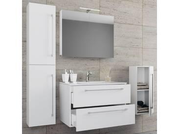 VCM 5-tlg. Waschplatz mit Spiegelschrank Badinos, weiß, Breite 80 cm Weiß