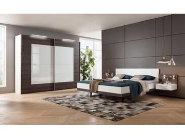 nolte® Möbel Schwebetürenschrank »Novara« mit edler Glasfront, weiß, polarweiß/Eiche dark chocolate