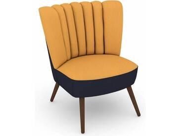 Max Winzer® build-a-chair Stuhlsessel »Aspen« im Retrolook, zum Selbstgestalten, gelb, Korpus: Flachgewebe 16452 dunkelblau, Flachgewebe 16452 gelb