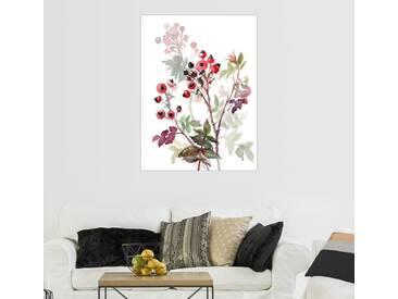 Posterlounge Wandbild - Verbrugge Watercolor »Hagebutten«, weiß, Holzbild, 100 x 130 cm, weiß