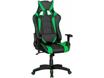 Amstyle Chefsessel »SCORE«, mit gepolsterten Armlehnen, schwarz, Kunstleder, schwarz/grün
