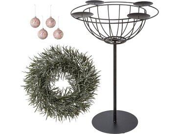 Kerzenhalter (Set, 6 Stück), Deko-Set: Adventsleuchter, Deko-Kranz und Glaskugeln, schwarz, 40x60 cm, schwarz-rosa-grün-frost