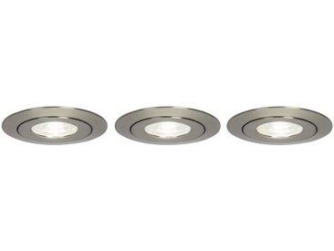 Brilliant Leuchten Nodus LED Einbauleuchtenset 3x schwenkbar eisen/kaltweiß, silberfarben, eisen/kaltweiß