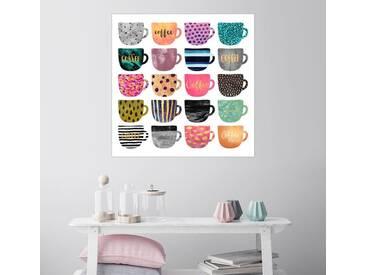 Posterlounge Wandbild - Elisabeth Fredriksson »Pretty Coffee Cups«, weiß, Leinwandbild, 30 x 30 cm, weiß