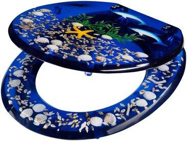 WC-Sitz »Delfin«, Toilettensitz mit eigelegten Meeresmotiven, blau
