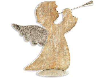Engelfigur »Engel«, stehend, mit Trompete, natur, 39,5x15x39 cm, natur-silberfarben