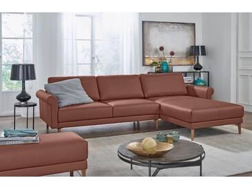 Hülsta Sofa hülsta sofa Polsterecke »hs.450« im modernen Landhausstil, Breite 262 cm, braun, Recamiere rechts, signalbraun