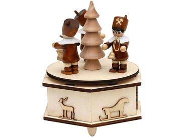SIGRO Holz Spieldose mit Bergmannfiguren, natur, Natur