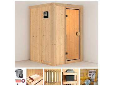 KONIFERA Sauna »Linda«, 136/136/198 cm, 9-KW-Bio-Ofen mit ext. Steuerung, natur, 9-kW-Bio-Ofen mit externer Steuerung, natur