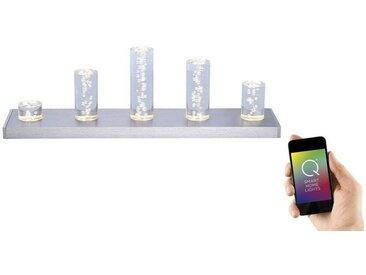 Paul Neuhaus LED-Tischleuchte, Smart Home Farbeffekt 5-flammig »Q-SKYLINE«, silberfarben, stahlfarbig