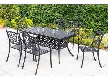 MERXX Diningset »Athos«, 7-tlg., 6 Sessel, 1 Tisch 160(204)x93 cm, Aluminium, grau, graphit