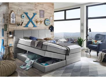 ATLANTIC home collection Atlantic Home Collection Boxspringbett mit Bettkasten und Topper, grau, Strukturstoff hellgrau