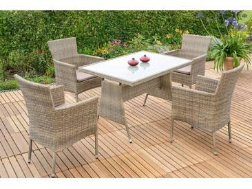 MERXX Gartenmöbelset »Trentino«, 9tlg., 4 Sessel, Tisch, stapelbar, Polyrattan, inkl. Kissen, grau, grau