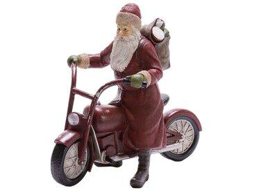 Dekofigur »Weihnachtsmann«, auf Motorrad, rot, 32x15x30 cm, rot-braun-grün