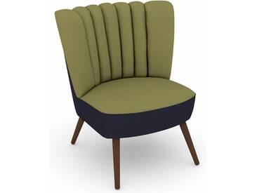 Max Winzer® build-a-chair Stuhlsessel »Aspen« im Retrolook, zum Selbstgestalten, grün, Korpus: Flachgewebe 16452 dunkelblau, Flachgewebe 16452 apfel