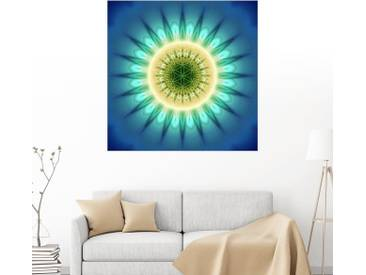 Posterlounge Wandbild - Christine Bässler »Mandala blaues Licht mit Blume des Lebens«, blau, Leinwandbild, 120 x 120 cm, blau