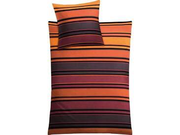 Kleine Wolke Bettwäsche »Maxim«, im modernen Streifendesign, orange, 1x 155x220 cm, Mako-Satin, orange-grau