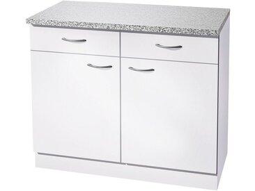wiho Küchen Unterschrank »Kiel« 100 cm breit, in Tiefe 50 cm, weiß, Weiß/Weiß