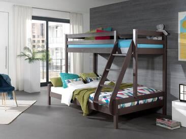 Vipack Furniture Etagenbett, mit Rolllattenrost, grau, Liegefläche 90x200 & 140x200 cm, Kiefer massiv taupe lackiert