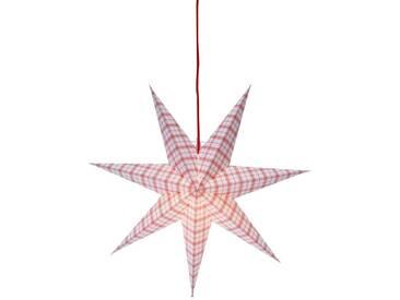 STAR Star Papierstern zum Hängen, mit Kabel »Metasol«, weiß, Breite x Tiefe x Höhe in cm : 54 x 16 x 54, Weiß-Rot