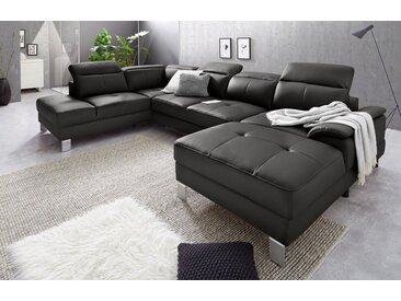 exxpo - sofa fashion Wohnlandschaft, schwarz, 340 cm, Ottomane links, schwarz