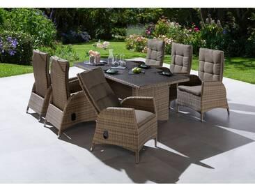 Ploß PLOSS Gartenmöbelset »Tokio«, 13-tlg., 6 Sesseln, Tisch 200x95 cm, Polyrattan, braun, beige/champagnerfarben