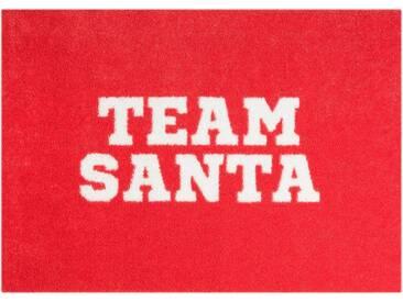 MINT RUGS Fußmatte »Team Santa«, rechteckig, Höhe 7 mm, In- und Outdoor geeignet, waschbar, rot, 7 mm, rot