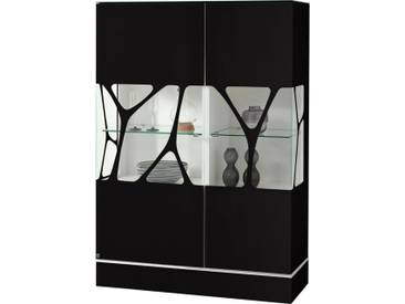 LEONARDO living Highboard »CUBE« mit Genetics, Höhe 110 cm, schwarz, Mit neutralweißer Beleuchtung & 4-Kanal-Funkfernbedienung, schwarz