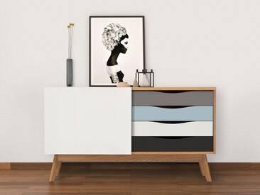Woodman Sideboard »Hilla«, Breite 130 cm, bunt, eiche/blau/braun