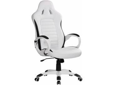 Amstyle Chefsessel »Racer«, mit gepolsterten Armlehnen, weiß, weiß/weiß