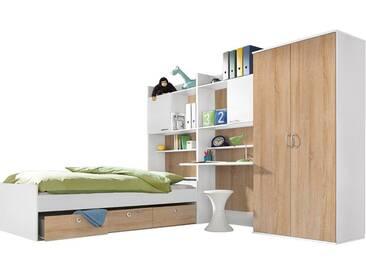 rauch PACK´S Jugendzimmer-Set »Emilio«, 4-teilig, natur, Mit 2-trg. Kleiderschrank, weiß/struktureichefarben hell