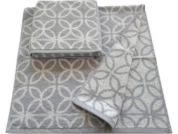 Dyckhoff Handtücher »Retro«, mit retro Blumen Muster, silberfarben, Walkfrottee, silberfarben