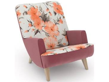 Max Winzer® build-a-chair Loungesessel »Borano« im Retrolook, zum Selbstgestalten, rosa, Korpus: Samtvelours rosé, Microvelours Blüte lachs