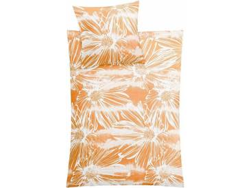 Kleine Wolke Bettwäsche »Rosalie«, mit großen Blumen, orange, 1x 155x220 cm, Mako-Satin, orange