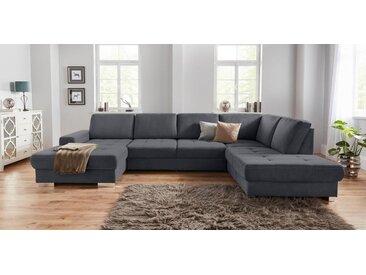 sit&more Wohnlandschaft, mit Federkern und Sitztiefenverstellung, grau, 340 cm, Recamiere links, grau