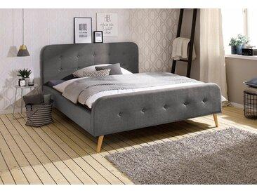 Home affaire Polsterbett »Amrum«, mit aufwendiger Knopfleistung am gepolstertem Kopf-und Fußteil, grau, ohne Matratze, grau