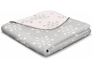 BIEDERLACK Wohndecke »Sense of Snow«, im Schneeflocken Design, grau, Baumwolle-Kunstfaser, grau-natur