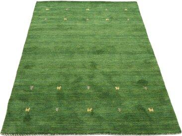 carpetfine Wollteppich »Gabbeh Uni«, rechteckig, Höhe 15 mm, handgewebt, grün, grün