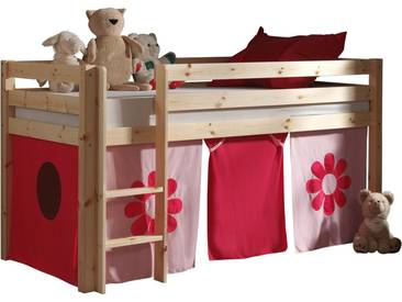 Vipack Hochbett, Furniture, rosa, Natur lackiert, Pink Flower