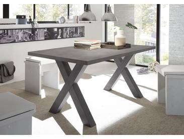 Kulissen-Esstisch, Füße in moderner X-Form, grau, Breite 160 cm, graphit