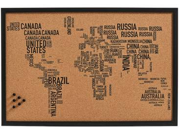 Zeller Present Pinbord »World Letters«, Kork, 60x40 cm, braun, braun