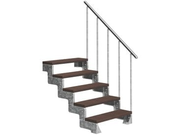 Dolle DOLLE Außentreppe »Gardentop«, für Geschosshöhen bis 110 cm, TRIMAX®-Stufen 100 cm, silberfarben, gerade, silberfarben