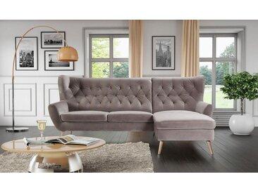 Home affaire Ecksofa »VOSS«, mit moderner Knopfheftung, 246 cm, Recamiere rechts, grau-beige