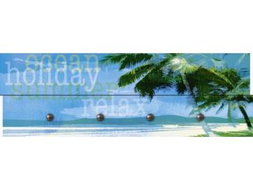 Artland Wandgarderobe »Jule: Palmen am Strand«, blau, 30 x 90 x 2,8 cm, Blau